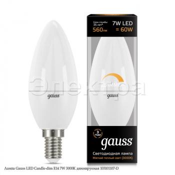 Лампа Gauss LED Candle-dim E14 7W 3000К диммируемая 103101107-D