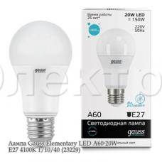 Лампа Gauss Elementary LED A60 20W E27 4100K 1/10/40 (23229)