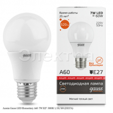 Лампа Gauss LED Elementary A60  7W Е27  3000K 1/10/100 (23217А)