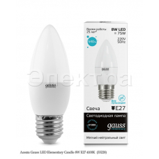Лампа Gauss LED Elementary Candle 8W E27 4100K  (33228)